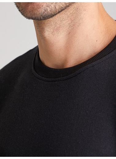 Dufy A.Grı Bısıklet Yaka Düz Erkek Sweatshırt - Slım Fıt Siyah